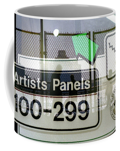 New York City Coffee Mug featuring the photograph Artists Panels by Rosie McCobb