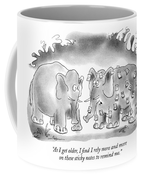 Animals Coffee Mug featuring the drawing As I Get Older by Arnie Levin