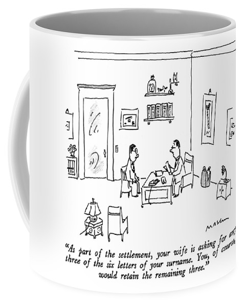 Relationships Coffee Mug featuring the drawing As Part Of The Settlement by Michael Maslin
