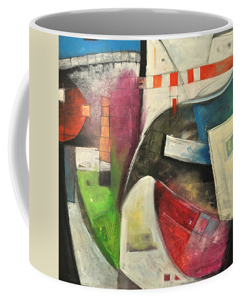 Abstract Coffee Mug featuring the painting As The Crow Flies by Tim Nyberg