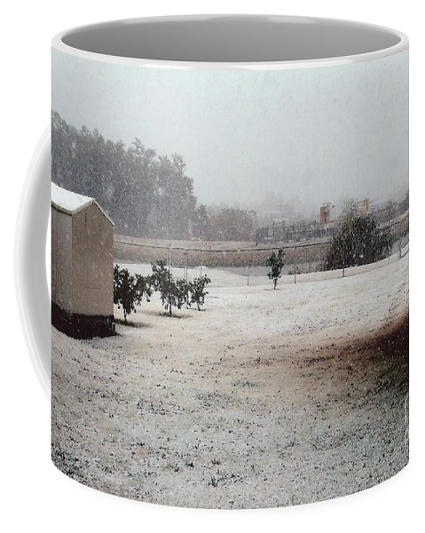 Snow Coffee Mug featuring the photograph As The Snow Falls by Joseph Baril