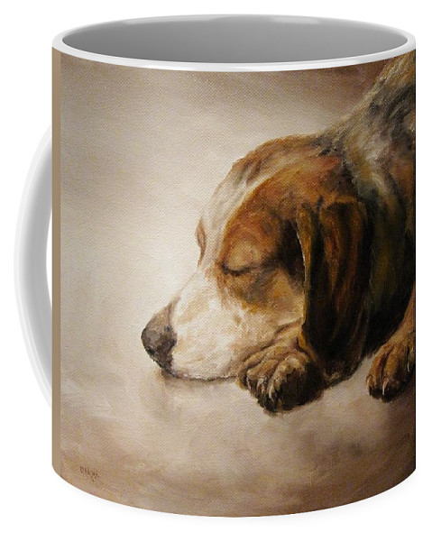 Canine Coffee Mug featuring the painting Asleep by Diane Kraudelt