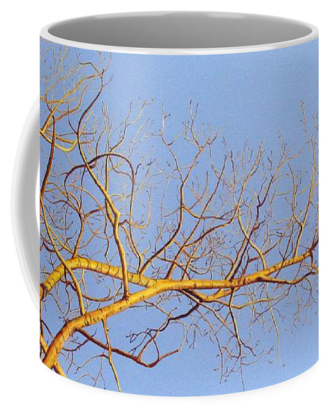 Aspen Painting Coffee Mug featuring the painting Aspen In The Autumn Sun by Elaine Booth-Kallweit