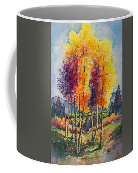 Aspen Coffee Mug featuring the painting Aspen Overlook by Michael Bulloch