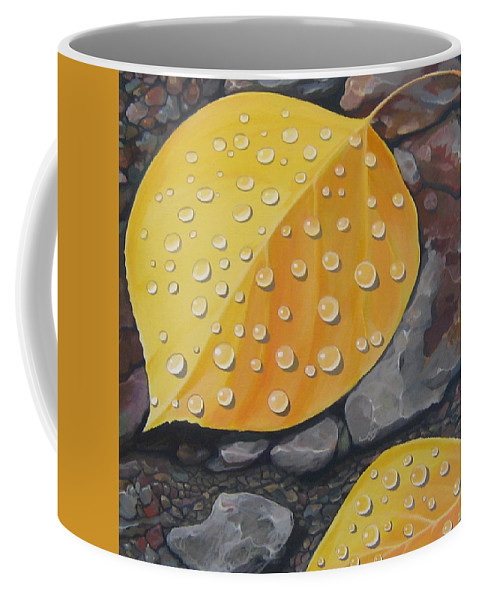 Aspen Coffee Mug featuring the painting Aspen Rain by Hunter Jay