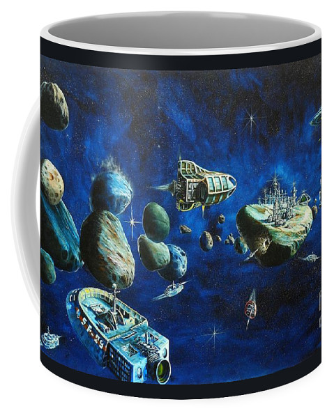 Fantasy Coffee Mug featuring the painting Asteroid City by Murphy Elliott