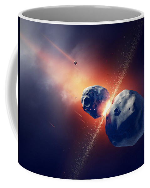Asteroids Collide And Explode In Space Coffee Mug