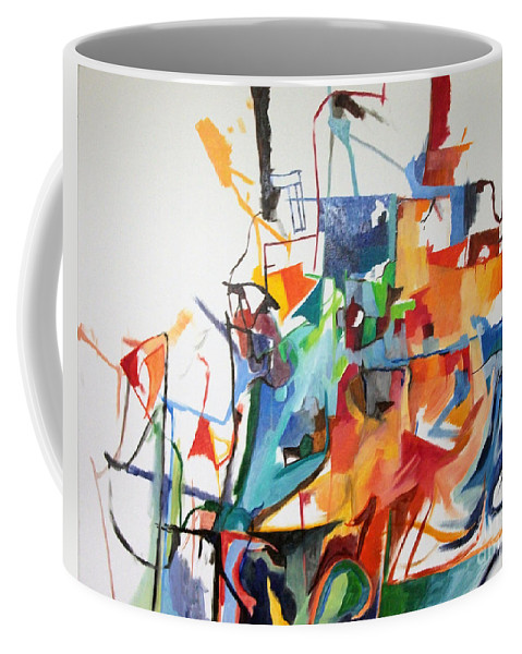 Torah Coffee Mug featuring the painting at the age of three years Avraham Avinu recognized his Creator 2 by David Baruch Wolk