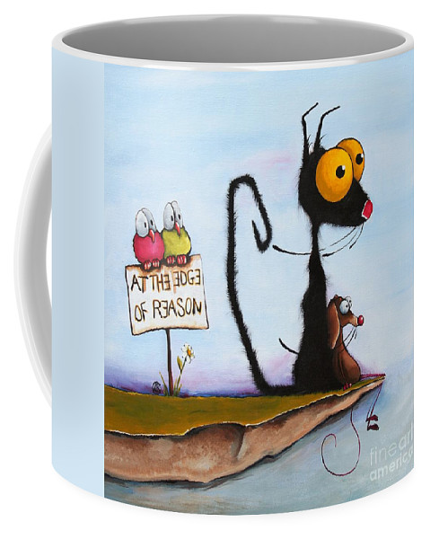 Cat Coffee Mug featuring the painting At The Edge Of Reason by Lucia Stewart