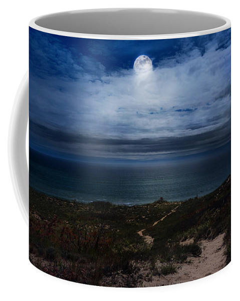 Moon Coffee Mug featuring the photograph Atlantic Moon by Bill Wakeley