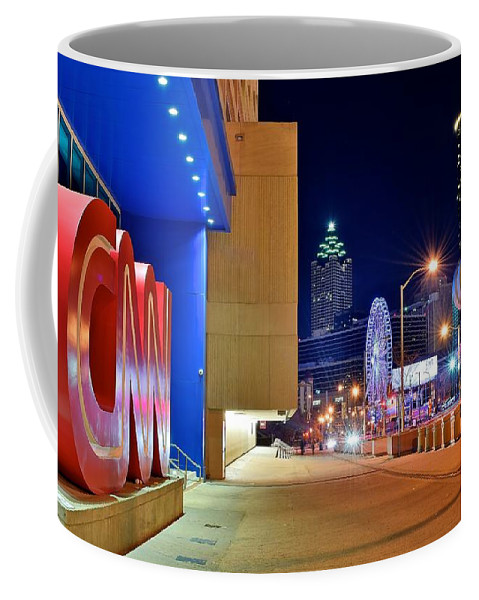 Atlanta Coffee Mug featuring the photograph Atlanta Outside Cnn by Frozen in Time Fine Art Photography