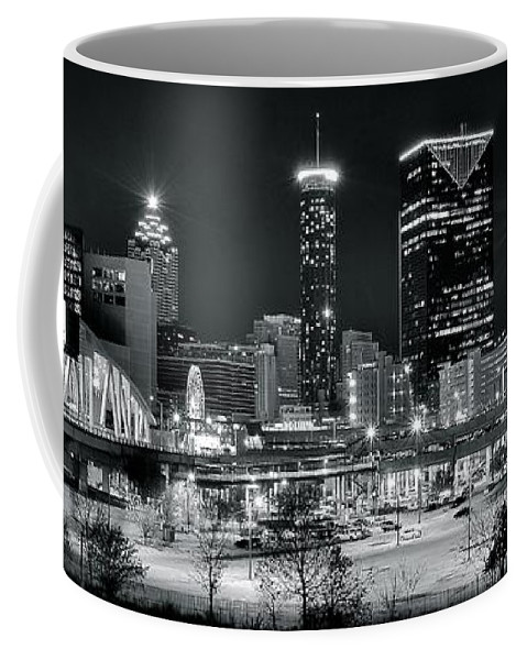 Atlanta Coffee Mug featuring the photograph Atlanta Panoramic Black And White by Frozen in Time Fine Art Photography