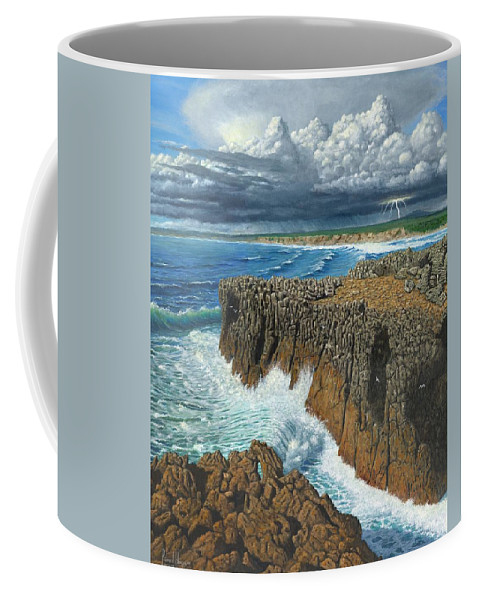Landscapes Coffee Mug featuring the painting Atlantic Breakers Pontal Portugal by Richard Harpum