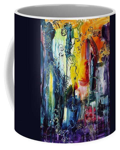 Abstract Coffee Mug featuring the painting Atlantis Sinking by Regina Valluzzi
