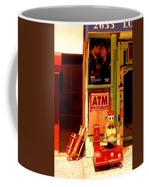 New York Coffee Mug featuring the photograph A T M And Sled by Miriam Danar
