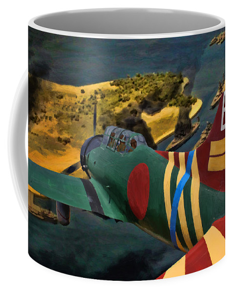 Japanese Coffee Mug featuring the digital art Attack On Battleship Row by Tommy Anderson