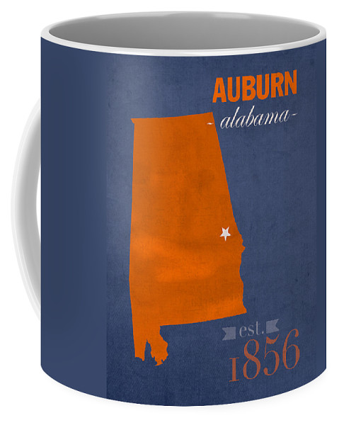 Auburn University Coffee Mug featuring the mixed media Auburn University Tigers Auburn Alabama College Town State Map Poster Series No 016 by Design Turnpike