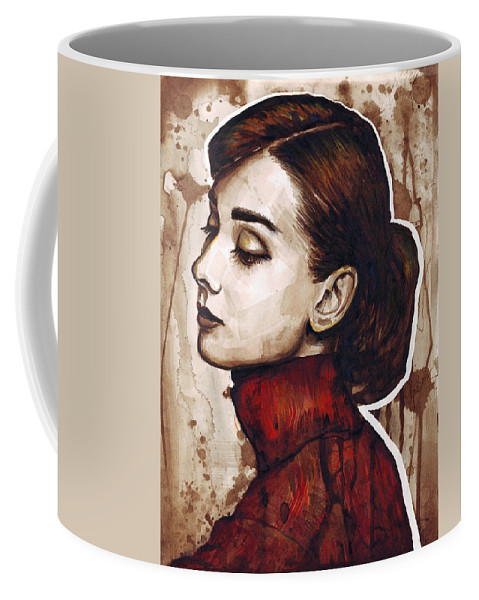 Audrey Hepburn Coffee Mug featuring the painting Audrey Hepburn by Olga Shvartsur