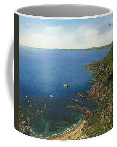 Landscape Coffee Mug featuring the painting August Afternoon At Whitsand Bay Cornwall by Richard Harpum