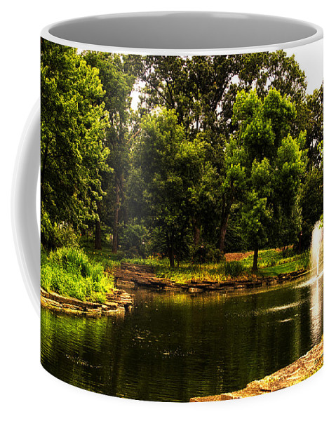 Pond Coffee Mug featuring the photograph August By The Fountain by Thomas Woolworth