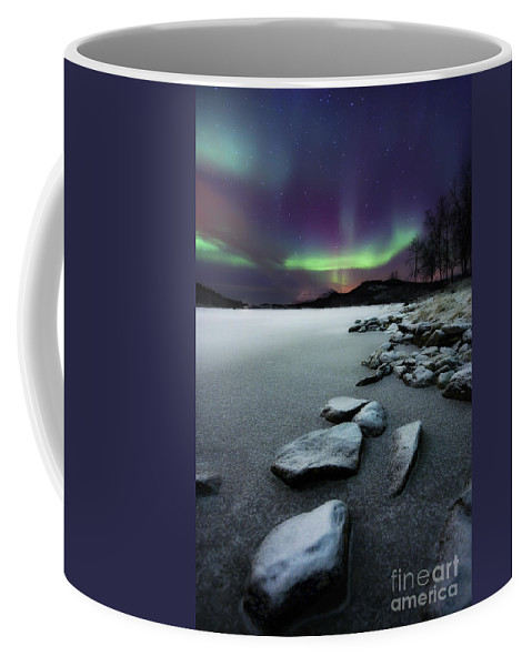 Aurora Borealis Coffee Mug featuring the photograph Aurora Borealis Over Sandvannet Lake by Arild Heitmann
