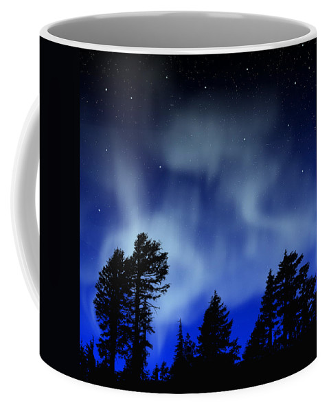 Aurora Borealis Mural Coffee Mug featuring the painting Aurora Borealis Wall Mural by Frank Wilson