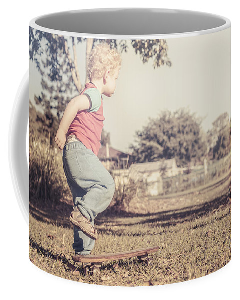 Child Coffee Mug featuring the photograph Authentic Faded Brown Vintage Skater Child by Jorgo Photography - Wall Art Gallery
