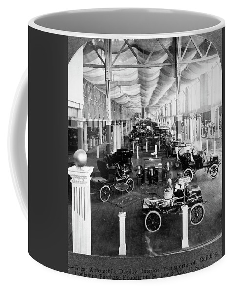 1904 Coffee Mug featuring the photograph Automobile Display, 1904 by Granger