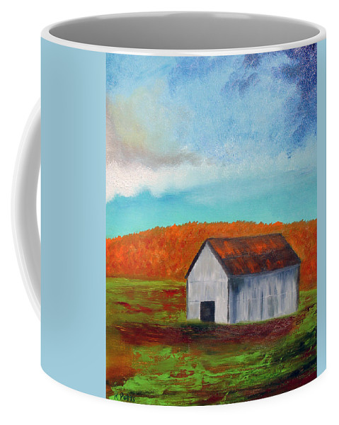 Barn Coffee Mug featuring the photograph Autumn Barn In Color by Roger Potts