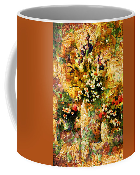 Abstract Coffee Mug featuring the mixed media Autumn Bounty - Abstract Expressionism by Georgiana Romanovna