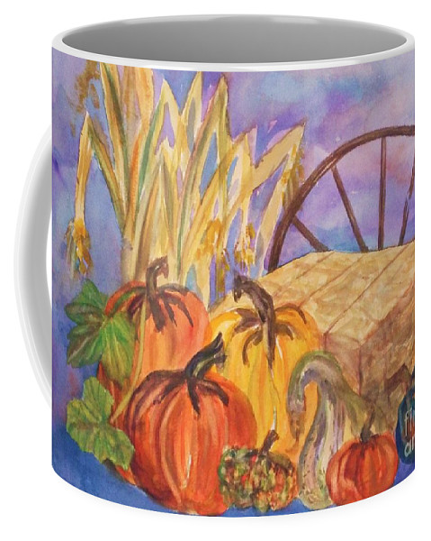 Acorn Squash Coffee Mug featuring the painting Autumn Bounty by Ellen Levinson
