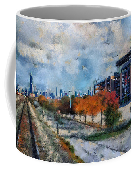 Chicago Coffee Mug featuring the photograph Autumn Chicago White Sox Us Cellular Field Mixed Media 03 by Thomas Woolworth