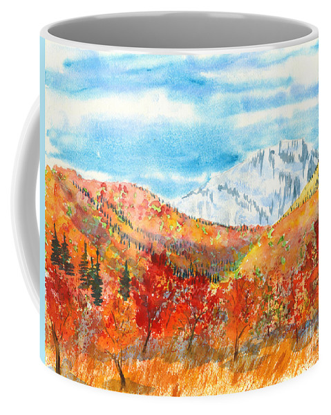 Mountains Coffee Mug featuring the painting Autumn Colors by Walt Brodis