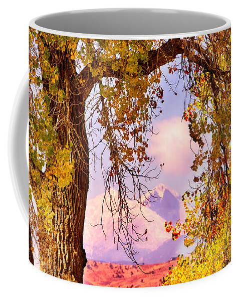 Autumn Coffee Mug featuring the photograph Autumn Cottonwood Twin Peaks View by James BO Insogna