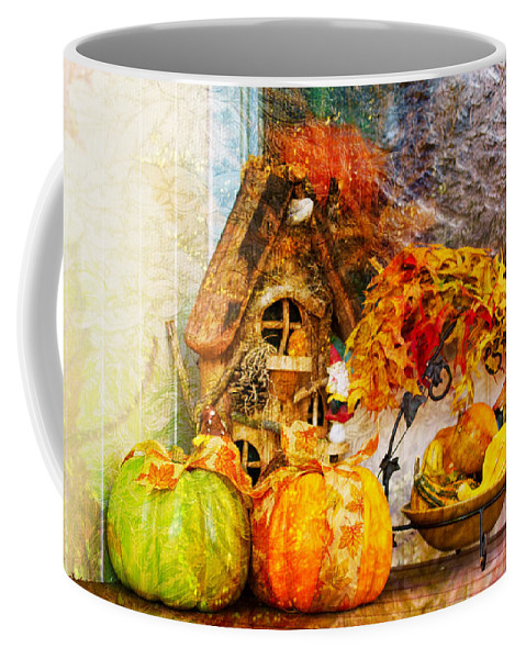 Autumn Coffee Mug featuring the photograph Autumn Display - Pumpkins On A Porch by Marie Jamieson