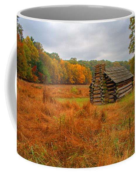 Rustic Coffee Mug featuring the photograph Autumn Foliage In Valley Forge by Michael Porchik