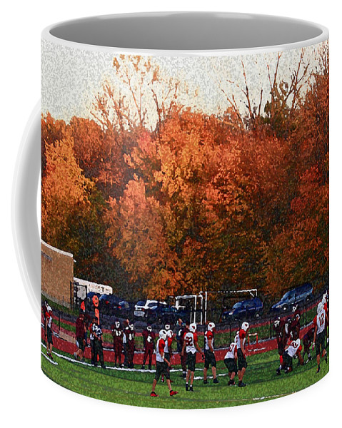 America Coffee Mug featuring the photograph Autumn Football With Sponge Painting Effect by Frank Romeo