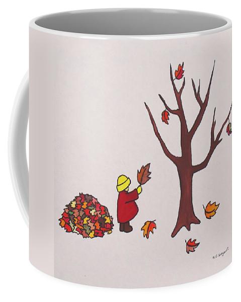 Children Coffee Mug featuring the painting Autumn Fun by Mary Ellen Mueller Legault