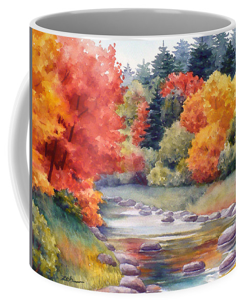 Landscape Coffee Mug featuring the painting Autumn Glory by Janet Zeh