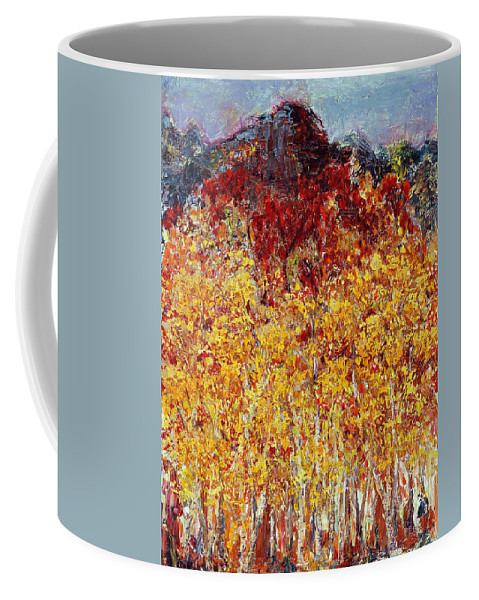 Abstract Coffee Mug featuring the painting Autumn In The Pioneer Valley by Regina Valluzzi