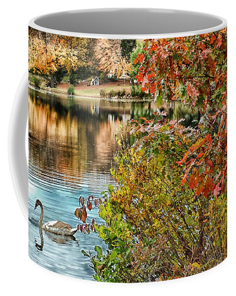 Autumn Coffee Mug featuring the photograph Autumn Lake And Swan by Mike Nellums