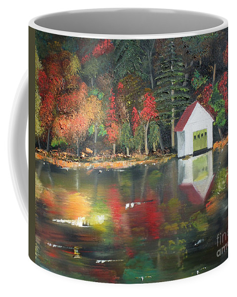 Happy Little Trees Coffee Mug featuring the painting Autumn - Lake - Reflecton by Jan Dappen