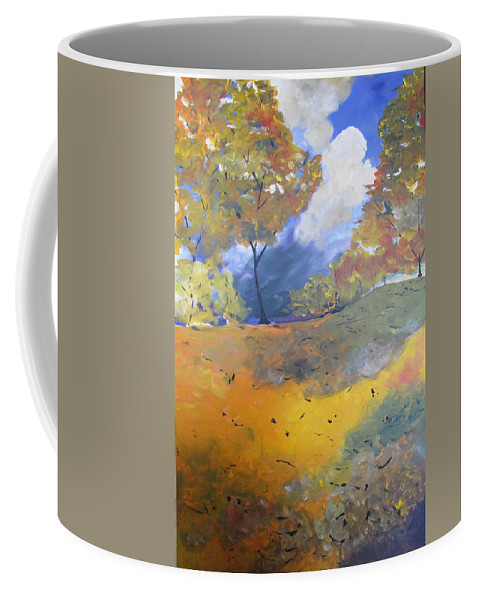 Landscape Coffee Mug featuring the painting Autumn Leaves Panel1 Of 2 Panels by Gary Smith