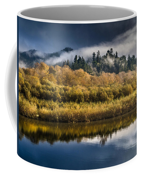 Fog Coffee Mug featuring the photograph Autumn On The Klamath 6 by Greg Nyquist