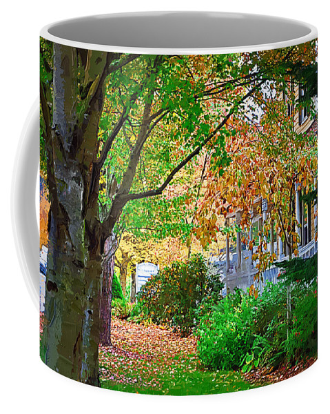 Fall Coffee Mug featuring the painting Autumn Porch by Kirt Tisdale