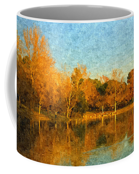 Landscape Coffee Mug featuring the painting Autumn Reflections by Angela Stanton