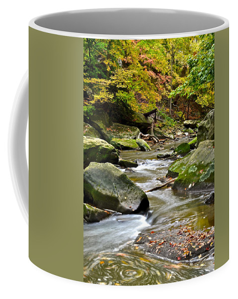 Autumn Coffee Mug featuring the photograph Autumn River by Frozen in Time Fine Art Photography