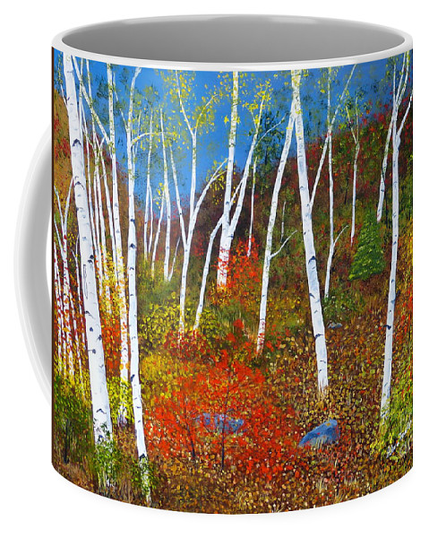 Birch Trees Coffee Mug featuring the painting Autumn Splendour by Alicia Fowler