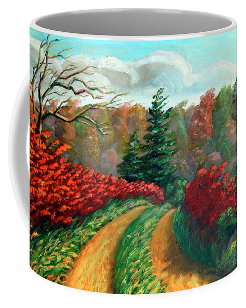Autumn Landscape Print Coffee Mug featuring the painting Autumn Trail by Hanne Lore Koehler