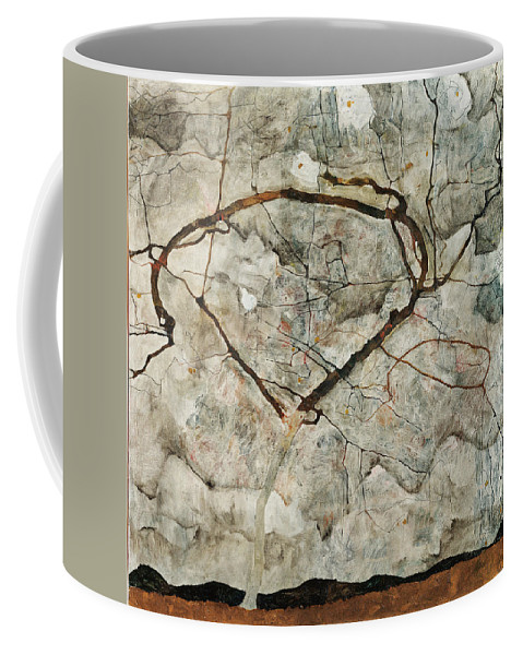 Egon Schiele Coffee Mug featuring the painting Autumn Tree In Stirred Air. Winter Tree by Egon Schiele